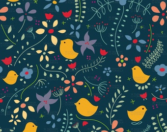 Birds Meeting Fabric by AgatheSTS
