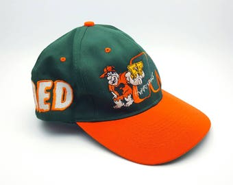 Vintage 1993 Miami Hurricanes Football Fred Flintstones Snapback Hat Snap Back Baseball Cap Collegiate Licensed Product University of Miami