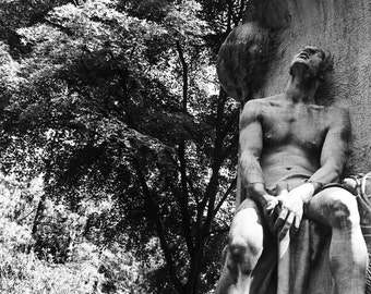 Male Statue Black and White Photography, Wall Decor, Statue, 8x10, 11x14, Fine Art Photography, New York