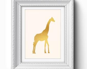 Gold Giraffe Print, Giraffe Nursery Printable, Giraffe Wall Art, Giraffe Nursery Print, Printable Art Decor, Safari Print