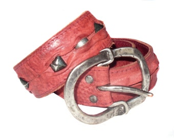 Vintage Beans Belt ® Fosten Vous Real Leather red belt women studs First Class by 18 PA