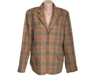 Vintage HENRY WHITE Ireland brown women blazer 100% lambswool USA 18