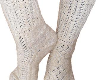 Vintage hand knitted female socks made of 100% lamb wool - white socks