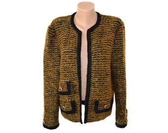 Vintage women blazer jacket sweater old-gold and black cardigan