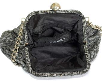 Vintage Nine West women bag cotton metal black and white