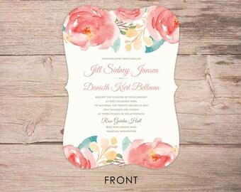 Wedding Invitations, Wedding Invitation, Personalized, Wedding Invites, RSVP card, RSVP's, Wedding invitation set, pink elegant watercolor