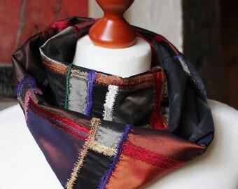 LOOP, infinity, Harlequin, silk, silk patchwork