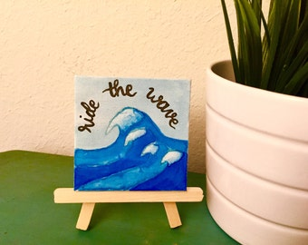 20% OFF Ride the Wave Tiny Canvas Watercolor Painting