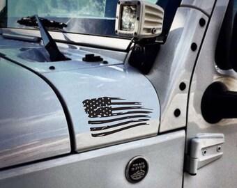 Distressed American Flag Jeep Wrangler Unlimited | Sahara | JK | TJ | Vinyl Decal Sticker Emblem Logo Graphic set