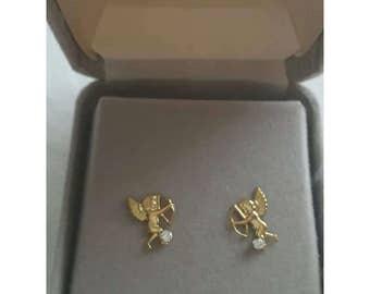 14k yellow gold cherub or angel earrings