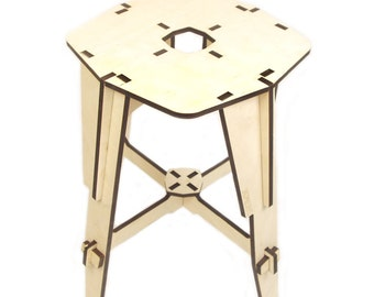 DIY tabouret - laser cut wooden tobouret 45.5 cm high