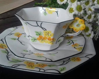 FLOWER HANDLE Melba cup saucer plate TRIO art deco #3691 vintage china