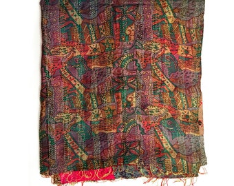"Kantha Silk Fabric|XL - Scarf ""JALPAI""|handembroidered shawl|sari patchwork| colored silkscarf|highquality|stiching|doublelayered big shawl"
