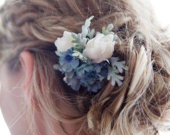 Wedding hair flower, something blue, blue hair flower, wedding hair clip, floral hair clip, flower hair clip