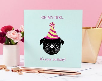 Pug Greeting Card, Black Pug, Dog Card, Pug Card, Greeting Card, Birthday, Pug Cute, Party Hat