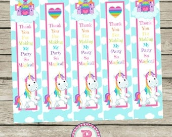 Unicorn Rainbow Birthday Party Bookmarks Blue Pink Rainbows Clouds Instant Download Book Favors Thank You for making my Party so Magical