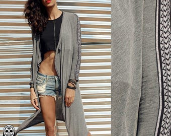 GRAY CAPE decorated with rayon stripe