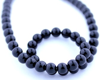 Black Onyx Beads 8mm Smooth Round - 15 Inch Strand Beads