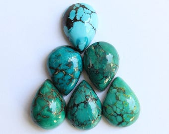 Natural pear shape Tibetan Turquoise cabochon Gem all mm size available- 7x10, 8x12, 9x13, 10x14, 12x16, 13x18, 15x20, 16x22, 18x25, 20x30
