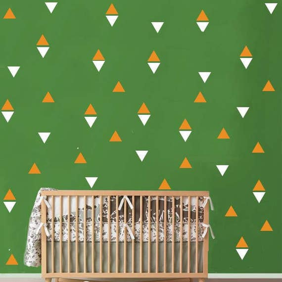 Nursery Decor Triangle Vinyl Wall Decal Sticker Set - Peel and Stick Triangle Stickers - Wall Pattern Decals - Vinyl Wall Decals