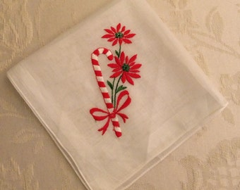 Vintage Christmas Handkerchief Embroidered Candy Cane Poinsettia