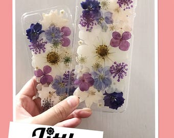 iPhone 8 handmade Pressed Flower phone cases Customised design clear resin glitter iPhone 7 7+ 6+ 6/6s Samsung LG Floral case