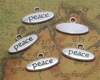 "25pcs Peace Charms Silver Tone Letter ""Peace"" Charm Pendants 17x9mm ASD0255"