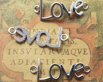 12pcs lovecharms silver tone love connector Charm Pendants 40x20mm ASD1129