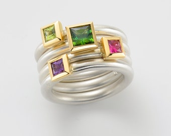 Cocktail ring PERIDOT kl. Princess cut, sterling silver, 18kt yellow gold, engagement, stacking ring, several rings, estate rings