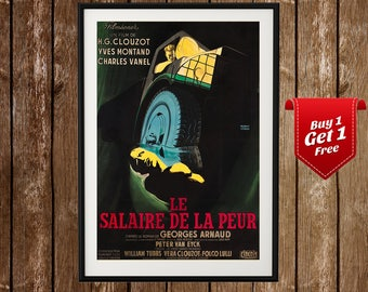 Le Salaire de La Peur Movie Poster - Wages of Fear, H.G. Clouzot, Yves Montand, Georges Arnaud, French Cinema, Vintage French Film