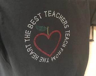 The best teachers teach from the heart rhinestone