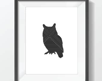 Owl Line Art Printable Wall Art  - Geometric Art Print - Owl - Instant Digital Download