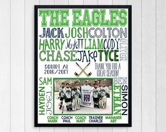 HOCKEY COACH GIFT ~  End of Season Hockey Gift ~ Personalized Hockey Print ~ Custom Hockey Gift ~ Hockey Team Photo ~ Ice Hockey Team ~ Jpg