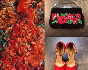 """Handbag """"the Scarlet flower"""" /Сумочка-клатч """"Аленький цветочек"""""""