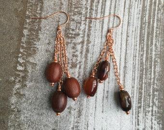 Asymmetric pendant earrings with carnelian beads, wooden beads, unique earrings, handmade earrings, brown earrings, boho earrings