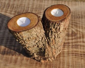 Wood Tealight holder, Elm Tealight holder, Handmade tealight holder, Log Tealight holder, rustis tealight holder, wood candle holder,