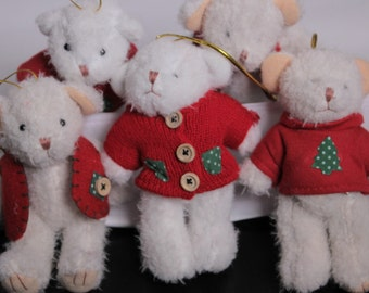 SALE  - 5 Vintage White Bear Plush Christmas Ornament from the 1990's