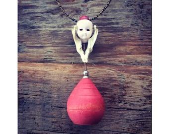 "Doll head necklace - spinning top - muskrat jaw necklace - boho - unique - handmade - repurposed - joshua tree - desert - ""Jaw Dropper"""