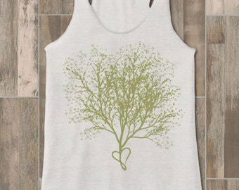 Tank Tops for Women-Heart Tree Art-Racerback Tank-Heathered White Tanks-Activewear Tops-Yoga Tank Tops-Workout Clothes-Gym Tank Top