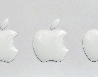 3x3D Domed Apple logo stickers for iPhone cover. Original size 15,5x12,6 mm.