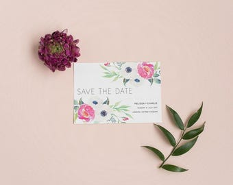 Rustic Floral Save the Date - Spring Blooms Save the Date - Wedding Save the Date Card
