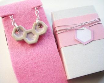 Chain ceramic Silver 925 cream / pink honeycomb 5