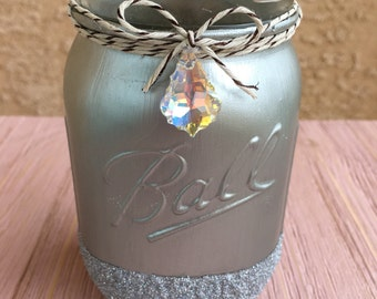 Silver metallic and glitter jar