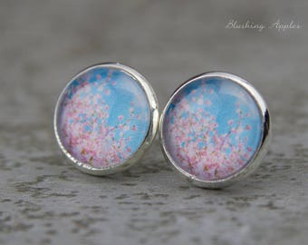 "Ear plugs - 12 mm - ""cherry blossoms"" in pink and light blue / / mininmalistisch, simply, spring"