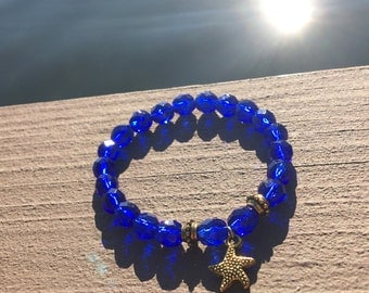 Ocean Bracelet, Resort Jewelry, Cobalt Blue Bracelet, Czech Glass Bracelet, Beach Jewelry, Starfish Bracelet, Sea Bracelet, Blue Bracelet