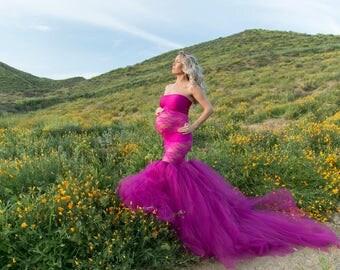 Maternity photo dress/fuschia