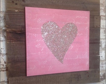 "Hand-Painted, Wood Sign - ""Valentine Heart"" Sign (Wall Decor)"