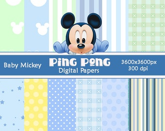 12 baby Boy Mickey Digital Papers Scrapbook Background