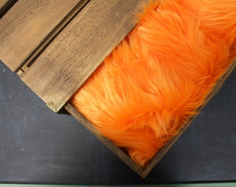 "Orange Soft Mongolian Faux Fur, 2"" Pile Newborn Cuddly Faux Fur Nest Newborn, Baby Posing Photo Prop, Stuffer, PhotoProp Layering blanket."