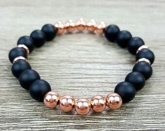 Matte Black Agate & Rose Gold bracelet
